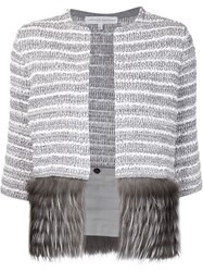 Carolina Herrera Fox Fur Panel Striped Cardigan