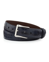 W.Kleinberg Matte Alligator Belt With 'The Watch' Buckle Navy Made To Order