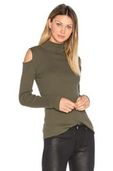 1.State Mock Neck Cold Shoulder Sweater Green