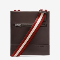 Bally Men's Leather Crossbody Bag In Chocolate Brown