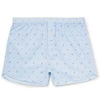 Derek Rose Roe Arlo Printed Cotton Boxer Hort Blue