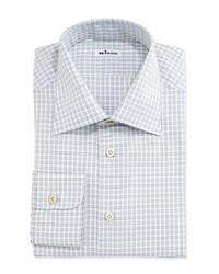 Kiton Check Woven Dress Shirt Blue Green