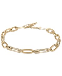 Rachel Roy Gold Tone Pave Safety Pin Link Necklace