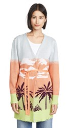 Kendall Kylie Waist Tied Cardigan Tropical Ombre Print