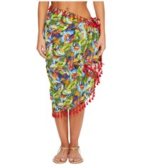 San Diego Hat Company Bss1806 Woven Bird Print Sarong Cover Up Multi Scarves