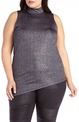 Addition Elle Love And Legend Plus Size Women's Asymmetrical Mock Neck Tank Medium Grey Mix B38