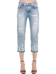 Diesel Aryel Distressed Cotton Denim Jeans Light Blue
