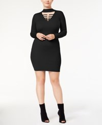 Say What Trendy Plus Size Hardware Sweater Dress Black