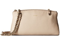 Dkny Chelsea Vintage Leather Clutch W Adjustable Chain Handle Sand Clutch Handbags Beige