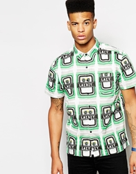 Lazy Oaf Short Sleeved Shirt In Beer Can Print Whitegreen