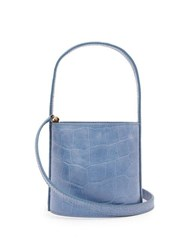 Staud Bisset Mini Crocodile Embossed Leather Bucket Bag Blue