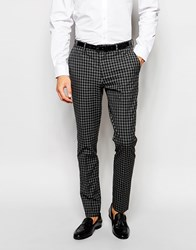 Selected Homme Exclusive Tonal Check Tuxedo Suit Trousers In Skinny Fit Grey