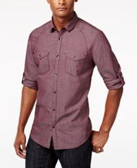 Inc International Concepts Men's Rex Long Sleeve Shirt Only At Macy's Vintage Wine