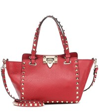 Valentino Garavani Rockstud Mini Leather Tote Red