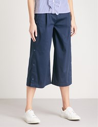 Izzue Side Slit Wide Leg Stretch Cotton Trousers Navy