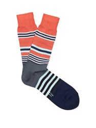 Paul Smith Striped Cotton Blend Socks Pink