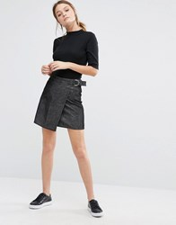 New Look Wrap Cord Aline Skirt Black