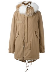 Mr And Mrs Italy Mink And Raccoon Fur Lined Parka Nude And Neutrals
