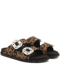 Roger Vivier Slidy Viv' Embellished Satin Slides Brown