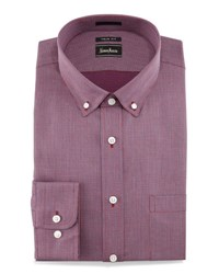Neiman Marcus Trim Fit Micro Check Dress Shirt Red