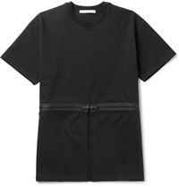 Givenchy Columbian Fit Zip Detailed Cotton Jersey T Shirt Black
