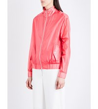 Dion Lee Stand Collar Silk Bomber Jacket Floro Pink