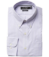 Lauren Ralph Lauren Slim Fit Non Iron Pinpoint Stretch Stripe Button Down Collar Dress Shirt Purple Men's Long Sleeve Button Up