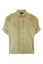 Topshop Tall Panther Embroidered Shirt Sage