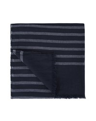 Tommy Hilfiger Navy Blue Cotton Striped Scarf