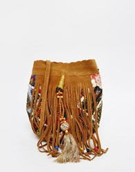 Park Lane Suede Bucket Bag With Hand Embroidery Tan