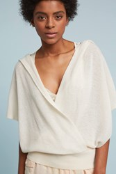 Anthropologie Cross Front Cashmere Hoodie Ivory