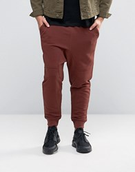 Asos Drop Crotch Joggers With Panel Detailing Red