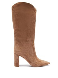 Gianvito Rossi Slouchy 85 Knee High Suede Boots Light Tan