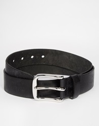 Asos Leather Belt In Black With Distressed Finish