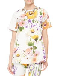 Lela Rose Embellished Neck Floral Tunic