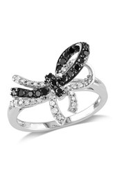 Two Tone Pave Black And Diamond Bow Ring 0.33 Ctw