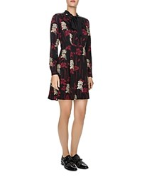 The Kooples Poppy Print Dress Black