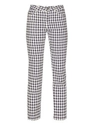 Alexander Mcqueen Cropped Houndstooth Denim Trousers White Multi