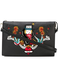 Love Moschino Embroidered Tattoo Bag Black