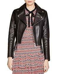 Maje Bestyle Fringe Trimmed Leather Jacket Black