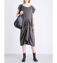Limi Feu Ribbon Detail Twill Dress Grey
