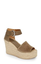 Marc Fisher Ltd Alida Espadrille Platform Wedge Green Suede