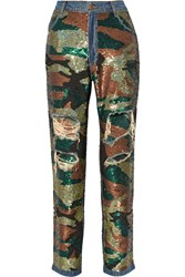 Ashish Sequin Embellished Distressed High Rise Boyfriend Jeans Green