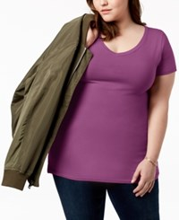 Planet Gold Trendy Plus Size Fitted V Neck T Shirt Purple
