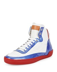 Bally Ethyx Men's Colorblock Patent Leather High Top Sneaker Multi