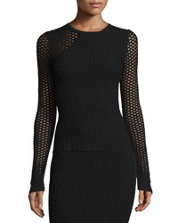 Opening Ceremony Long Sleeve Netted Mesh Top Black