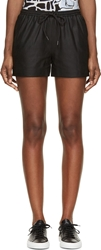 Alexander Wang Black Matte Leather Track Shorts