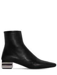Balenciaga 50Mm Typo Leather Ankle Boots Black