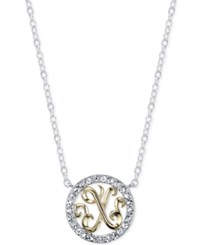 Unwritten Initial 'X' Pendant Necklace With Crystal Circle In Sterling Silver And Gold Flash Two Tone