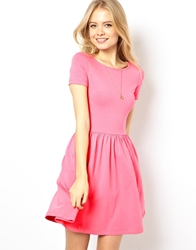 Asos Skater Dress With Slash Neck And Short Sleeves Pink